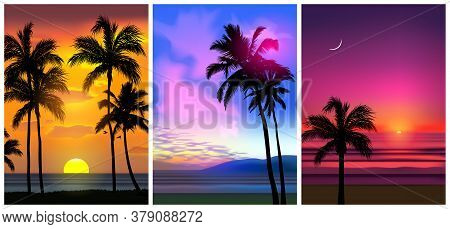 Summer Tropical Beach Backgrounds Set With Palms, Sky Sunrise And Sunset. Summer Party Placard Poste