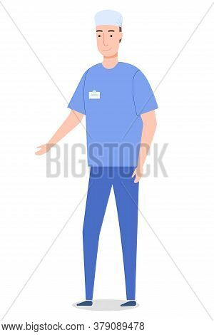 Vector Cartoon Character Isolated At White. Surgeon Wearing Medical Suit Gesture Hand. Medical Staff
