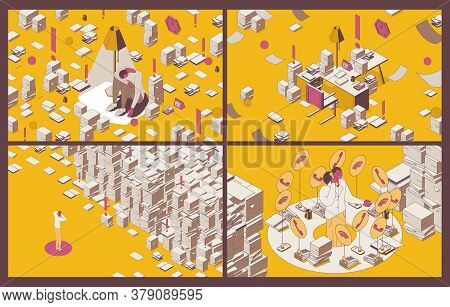 Set Of Concept Isometric Scenes About Paper Work, Deadline And Overworking. Outline Characters Worki