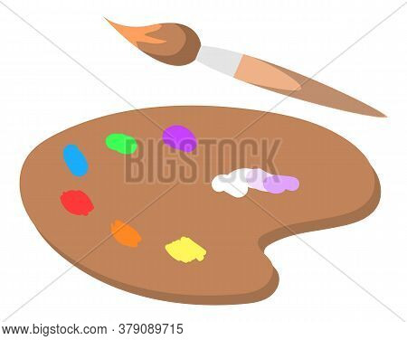 Wooden Plate Palette With Colors Vector, Isolated Paintbrush Flat Style Instrument For Drawing And C