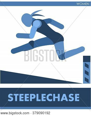 Female Steeplechase. Overcoming A Pit With Water. Women Run Athletics Cross-country Sports; Racing C