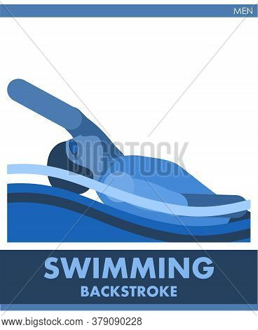 Backstroke Sport Man. Male Competition. Vector. Icon, Pictogram. Summer International Sports. The Gu
