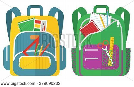 Colored School Backpack. Education And Study Back To School, Schoolbag Luggage, Rucksack Vector Illu