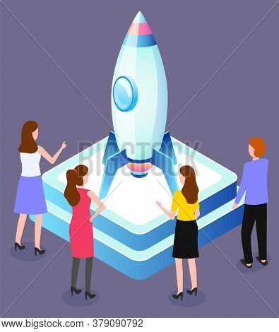 Engineers Launch Rocket, Startup Concept, Spacecraft Or Spaceship Construction Vector. Space Explora
