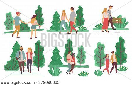 Collection Of Couples On Dates Strolling In Forests Or Parks In Summer Or Spring. Male And Female Ch