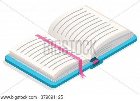 Book With Pages And Bookmark Vector, Isolated Printed Material. Textbook For Education And Teaching,