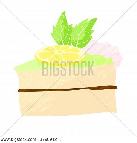 Piece Of Cake With Whipped Cream, Chocolate And Lemon Birthday Tasty Bake. Vector Flat Cartoons Illu