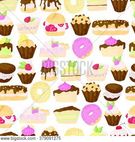 Vector Pastry Seamless Pattern With Cakes, Pies, Profiterole, Muffins, Cupcakes And Eclair With Choc