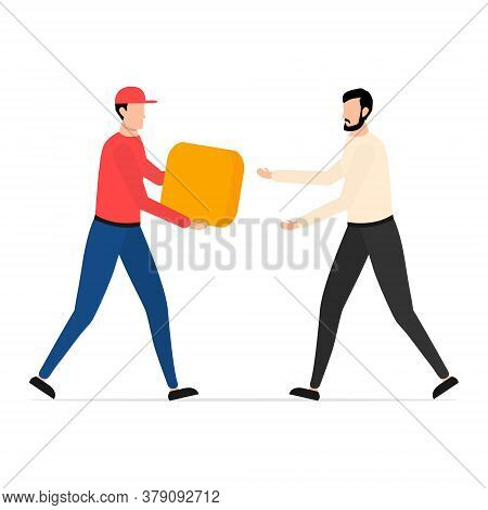 Young Man Getting Order Yellow Parcel. Courier Deliver Parcel Box To Man Vector Isolated On White. F