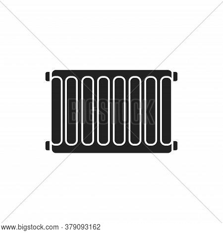 Steel Radiators Of Heating In The House Black Glyph Icon On White Background. Home Heating. Pictogra