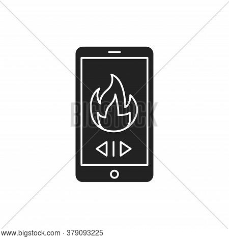 Remote Control Of Heating In The House Black Glyph Icon. Home Heating. Heat Regulation In The House.