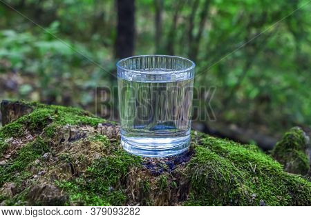Glass Of Clean Fresh Water On Tree Stump With Moss Against Green Natural Background. Spring Ecologic
