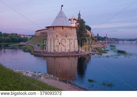 Flat Tower In The Pskov Kremlin At Dusk In July. Russia