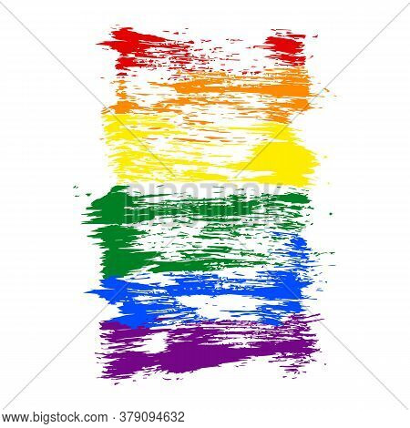 Lgbt Flag Painted With Brush Strokes. The Six Color Rainbow Flag Created For Popularize And Support
