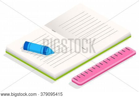 Opened Textbook With Hard Cover And White Sheets. Supplies For Education, Study And Work At Office.