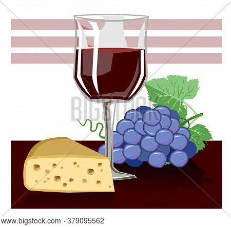 Glass Of Wine. Vector. Red Wine In A Transparent Glass. Isolated Object On A White Background. Carto