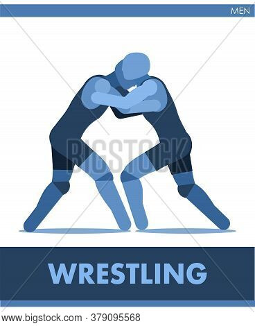 Freestyle Wrestling Icon Vector. Male. Pictogram Men Sport. Logo. Match Boys. Symbolic Image Is One
