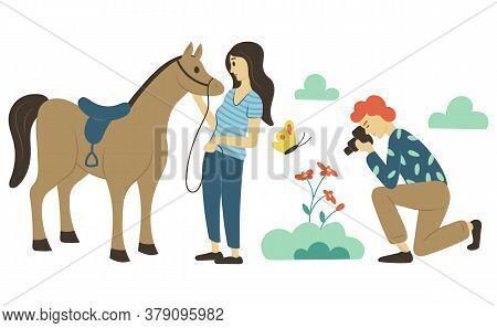Hobby Of People Vector, Man And Woman On Pastime. Lady Standing With Horse, Person Taking Photos Of