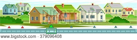 Countryside Houses Vector Landscape. Country Side Village. Rural Homes, Street. Flat Style. Settleme