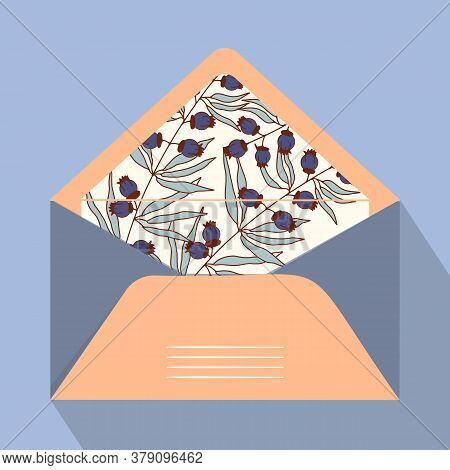 Vector Postal Open Envelope And Postcard With Floral Print On Isolated Background. Orange Envelope F