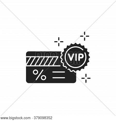 Vip Ticket Glyph Black Icon. Customer Privilege Web Exclusive Badge. Premium Card For Concert, Cinem