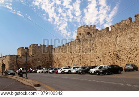 Rhodes, Greece - July 31, 2020: Arnaldo Gate And The Fortress Wall Of The Old Town Of Rhodes, Rhodes