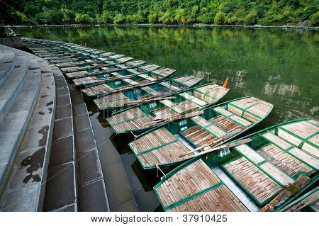 Landscape with boat, Trang An, Ninh Binh, Vietnam