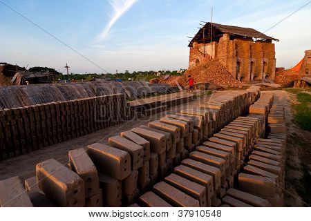 Large Ovens, Kilns, Used To Cure Clay Bricks In Vietnam