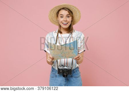 Excited Traveler Tourist Girl In Striped Shirt Hat With Photo Camera Isolated On Pink Background. Pa