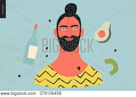 Beautiful People Portrait - Hand Drawn Flat Style Vector Design Concept Illustration Of A Young Bear