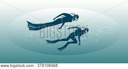 Divers - Abstract Gradient Background - Vector. The Banner Is Horizontal. Business Card. Underwater