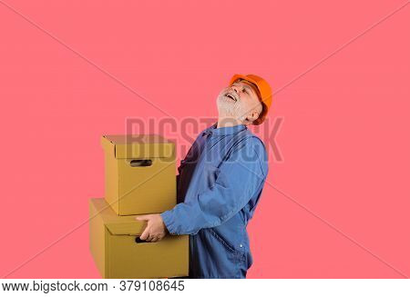 Home Delivery. Delivery Man Box In Hands. Concept Of Courier And Messenger Service. Logistic Deliver