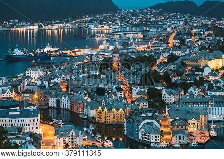Alesund, Norway - June 21, 2019: Night View Of Alesund Skyline Cityscape. Historical Center In Summe