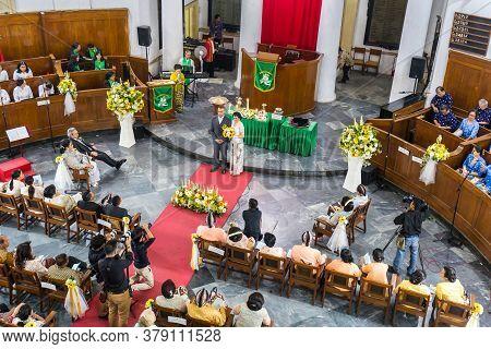 Jakarta, Indonesia - October, 28, 2017: Traditional Javanese Wedding In A Church Jakarta Indonesia