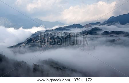 Sapa In The Mist with cloud and trees in sapa, vietnam