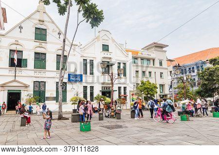 Jakarta, Indonesia - October, 28, 2017 Wayang Museum On Fatahillah Square, Kota Tua. Old City Of Bat