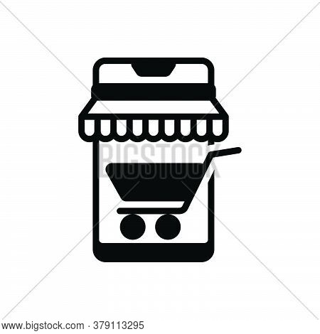 Black Solid Icon For Mobile-shopping Mobile Shopping Shop Purchase Screen Cart Trolly Smart-buying M