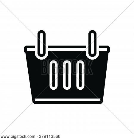 Black Solid Icon For Shopping-basket Shopping Basket Cart Commerce Supermarket Trolley Grocery Objec
