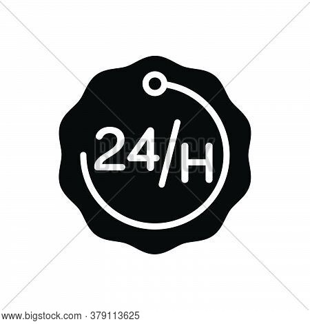 Black Solid Icon For 24 Hours Accessibility Emergency Exigency Service Efficacy
