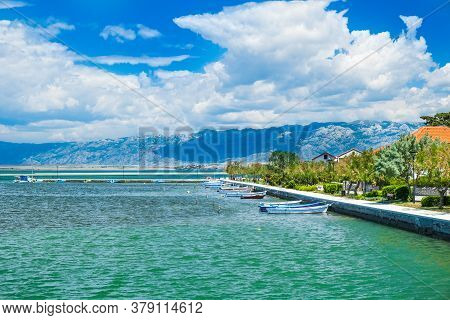 Town Of Nin, Waterfront View And Velebit Mountain In Background, Dalmatia, Croatia