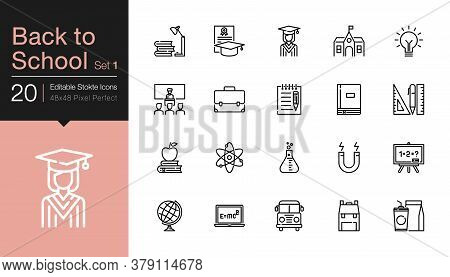 Back To School Icons Set 1. Modern Line Design. For Presentation, Graphic Design, Mobile Application