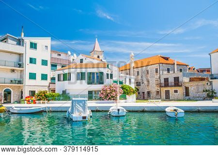 Croatia, Adriatic Coastline, Beautiful Old Coastal Town Of Pirovac, Boats In Marina, Waterfront View