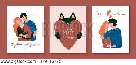 Cute Posters. Valentine's Day Greeting Cards. Vector Illustration Of A Couple In Love And Cute Cat W