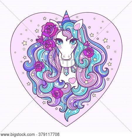 A Beautiful White Unicorn With A Long Mane And Roses. Vector Illustration