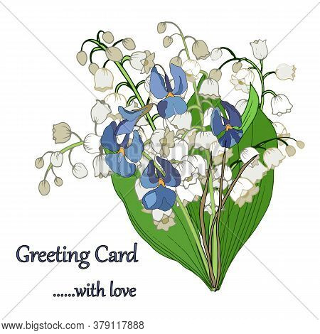 Bouquet Of Lily Of The Valley In Color, Lilies Of The Lily Of The Valley, Vector Illustration, Isola