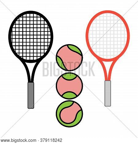 Vector Illustration, Set Of Tennis Ball And Racquets, Isolate On A White Background