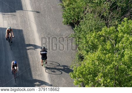 Montreal, Ca - 31 July 2020: Aerial View Of People Riding Bikes On St Lawrence Seaway Bike Path