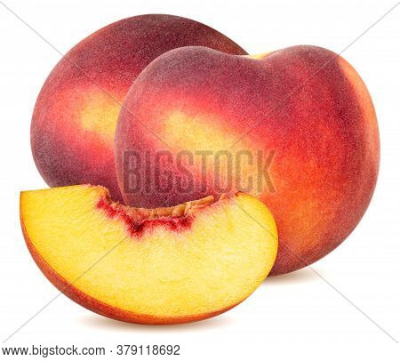 Isolated Peaches. Two Whole Peach Fruits And A Slice Isolated On White Background With Clipping Path