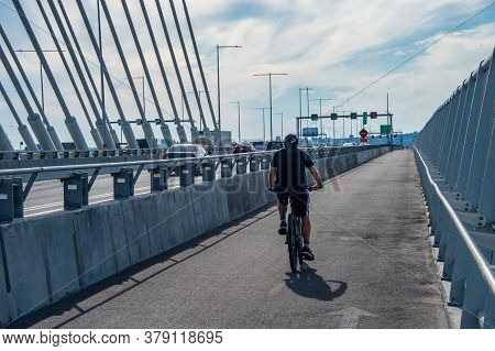 Montreal, Ca - 31 July 2020: Multi-use Pathway On New Samuel De Champlain Bridge