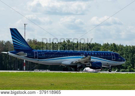 July 2, 2019, Moscow, Russia. Airplane Airbus A320-200 Azal Azerbaijan Airlines At Vnukovo Airport I